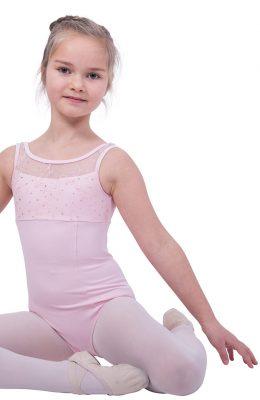 Roze balletpakje van Bloch met glittertjes aan de bovenzijde.