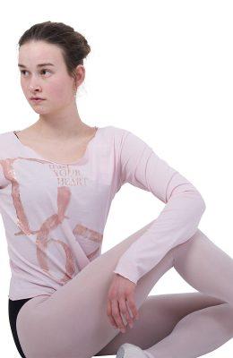 Shirt van Deha in zacht roze met logo opdruk.