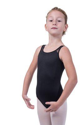 Balletpakje met brede banden en gaas op de rug.